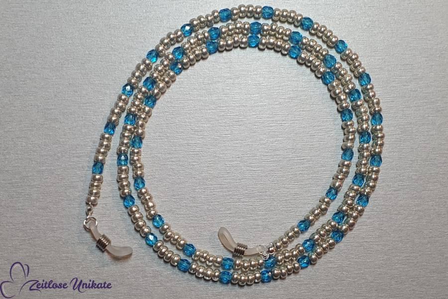 sportlich elegante Brillenkette blau hellsilber aluminium