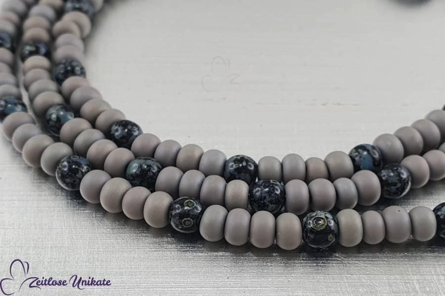 Brillenkette schwarzgrau, böhmische Perlen in schwarzgrau & Rocailles Perlen grau, auch als Kette