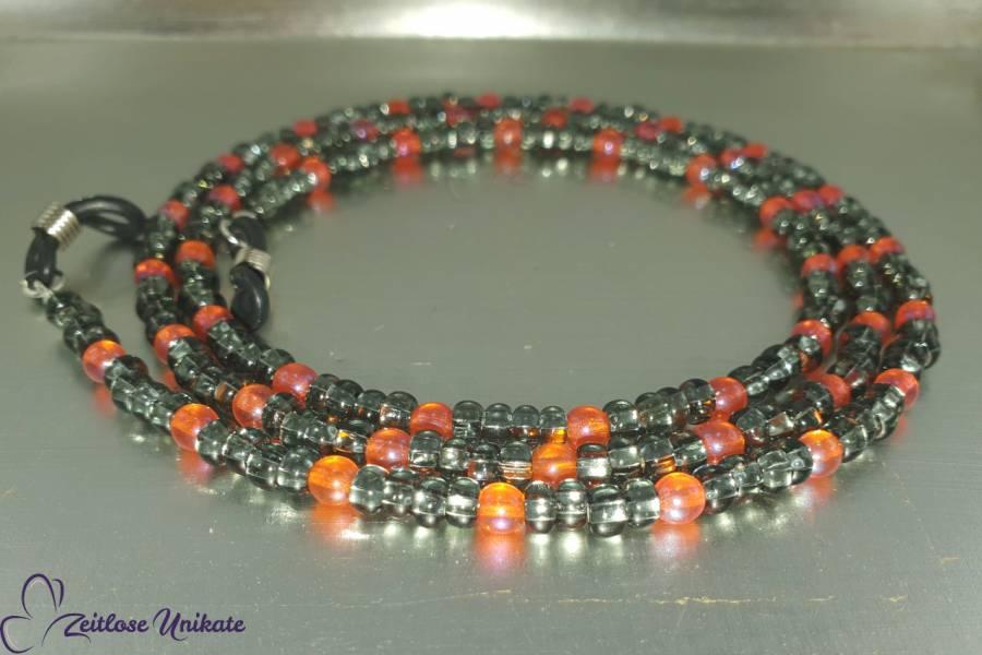 Brillenkette oder lange Kette grau orange, zeitlos