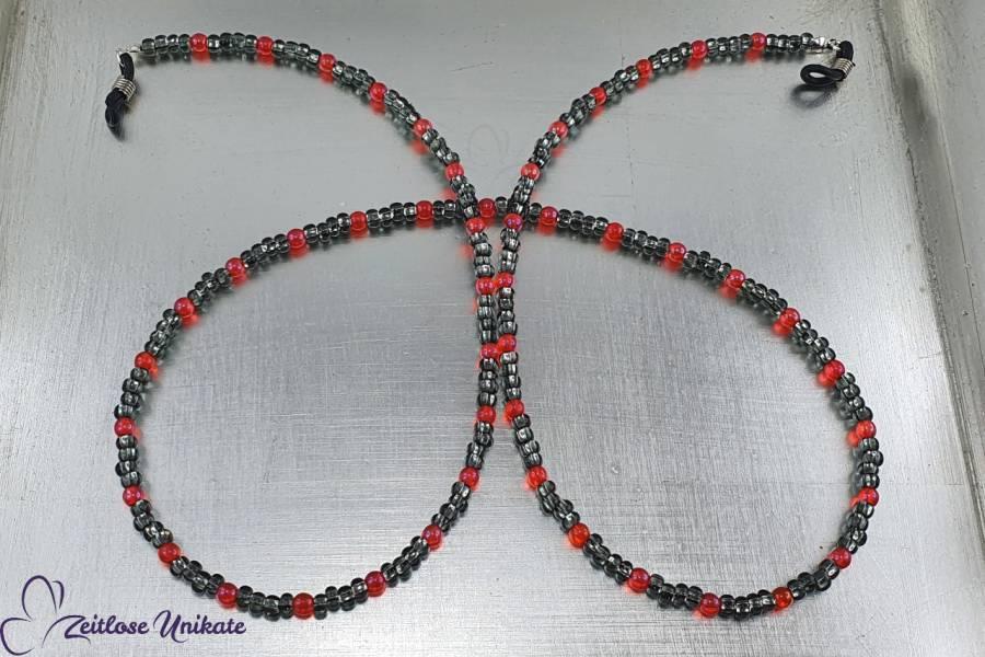 Brillenkette grauorange, böhmische Perlen in leuchtend orange & Rocailles Perlen grau, lange Kette