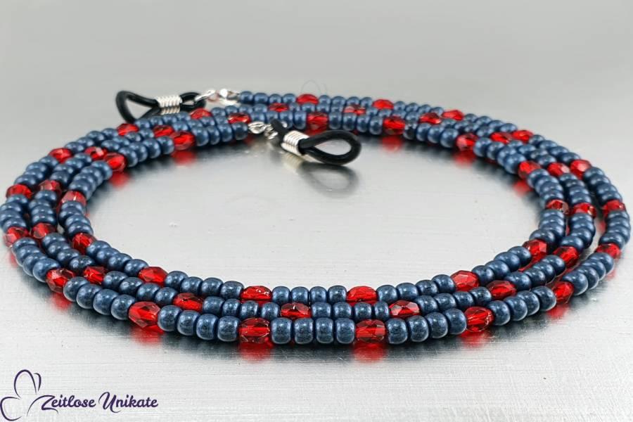 Brillenkette jeansblaurot, böhmische facettierte Glasperlen in rot silbrig & Rocailles Perlen denim