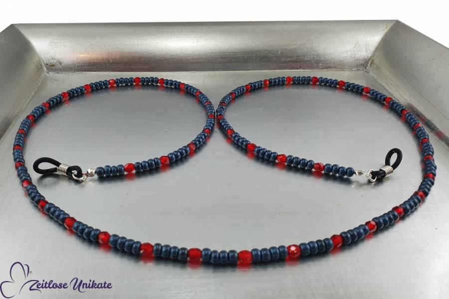 rot blaue Brillenkette Jeansblau denim blue