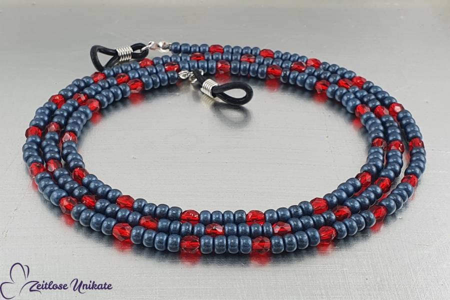 zeitlose Brillenkette jeansblau rot, lange Kette