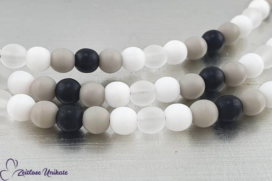 Brillenkette schwarz weiß grau - Testbild - Farbneutraler Brillenbandersatz - lange Kette - ZUrund