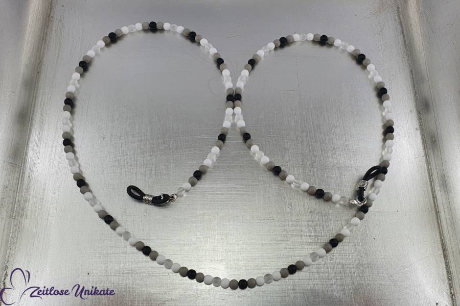 weiß, grau, schwarz Brillenkette neutral in Testbildfarben