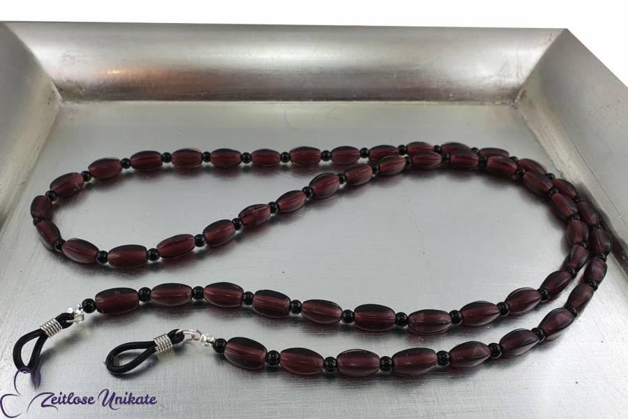 dunkel amethyst Brillenkette, schwarze Perlen