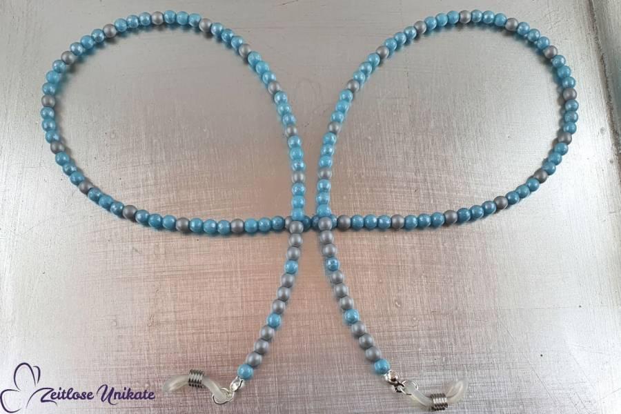 hellblaue / silbergraue Brillenkette aus kleinen Perlen
