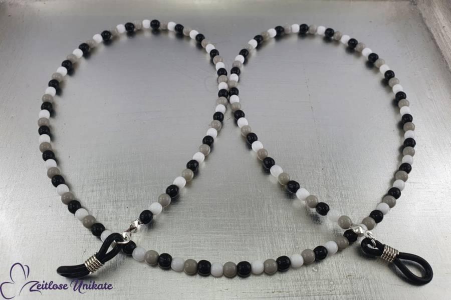 schwarz weiß graue Brillenkette aus kleinen Perlen
