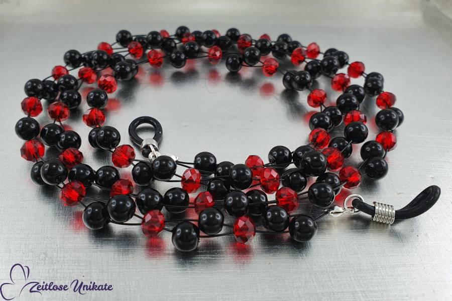 Brillenkette rot schwarz, aus glitzernden roten Perlen