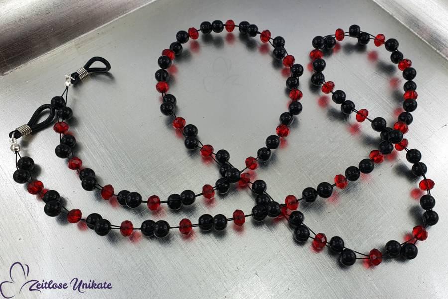 elegante schwarz rote Brillenkette, lange Kette - Perlen