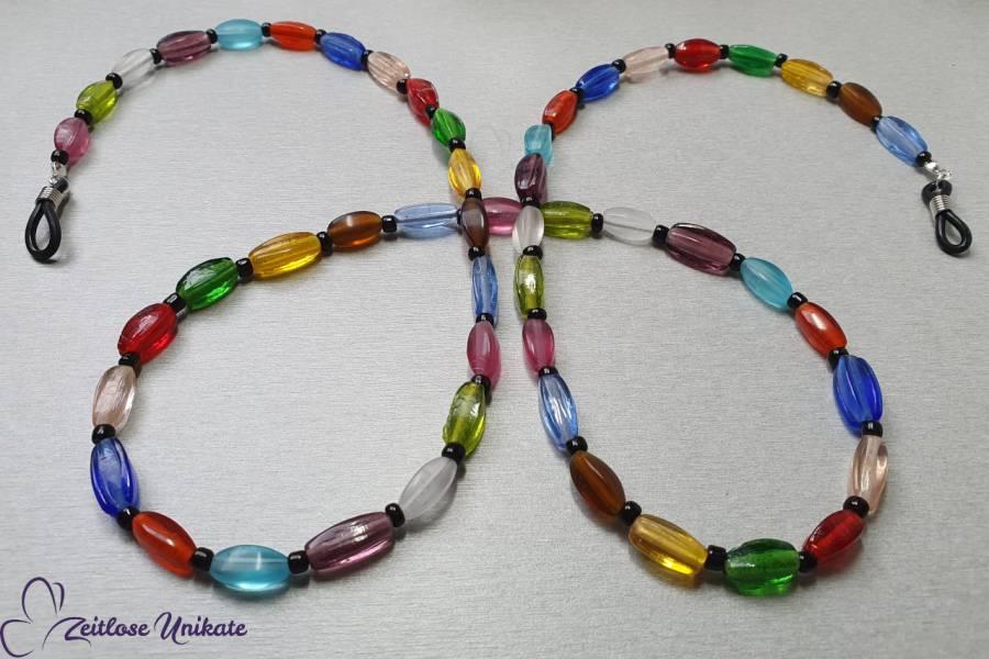 Brillenkette schön bunt & schwarz - Ecken und Kanten - mal ein anderes Brillenband