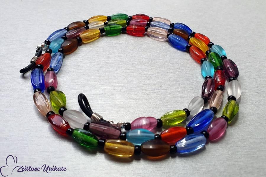farbenfrohe bunte Brillenkette & schwarze kleine Perlen