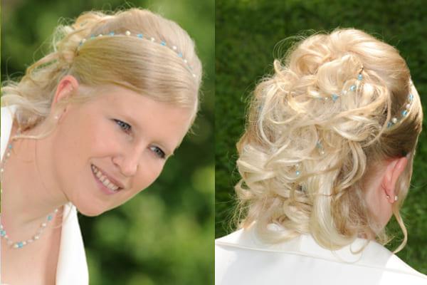 Braut Miriam mit + Etwas Blaues + großes Brautschmuck Set inkl. Haarschmuck