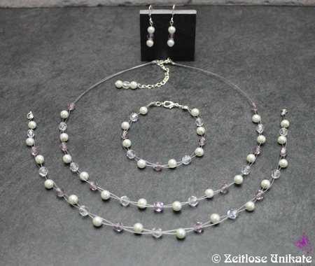 Die Schlichte + Brautschmuck Set inkl. Haarband in einem dezenten lila Wunsch