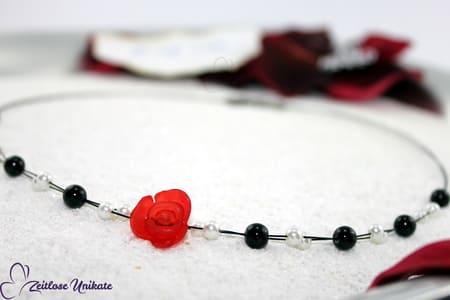 Rote Rose, Brautkette für die Braut in schwarz oder ...