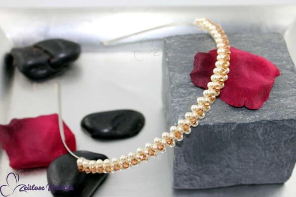 Haarreif schlicht romantisch - Beispiel topas weitere Farben / Maße - Perlenhaarreif für die Braut