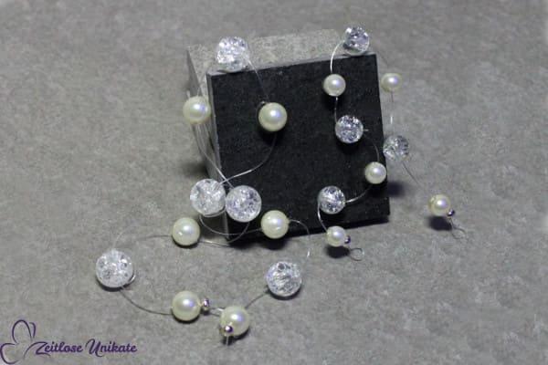 sehr schlichtes Haarband - Crackle Perlen - 3 Perlengrößen - kleines Highlight für die Brautfrisur
