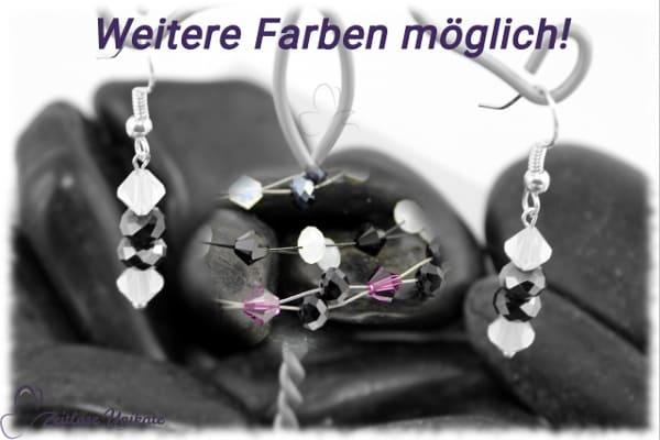 Farbintensive safirblaue Glasperlen & klare Kristalle - sportlich elegante Ohrringe - ZUelegant