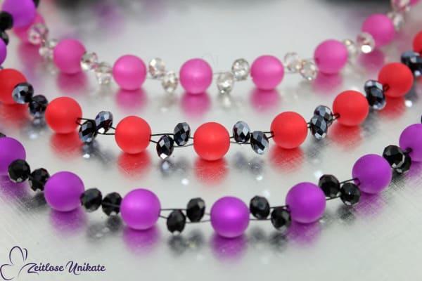 Dunkelrosa und grau - poppig elegantes & interessantes Armband - ZUopulent rosa grau