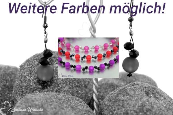 Dunkelrosa und grau - poppig elegante & interessante Ohrringe - ZUopulent rosa grau