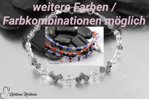 Tanzanite schwarz – Armband mit tansanitfarbenen / lila Kristallen - schwarze Perlen - ZUungewohnt