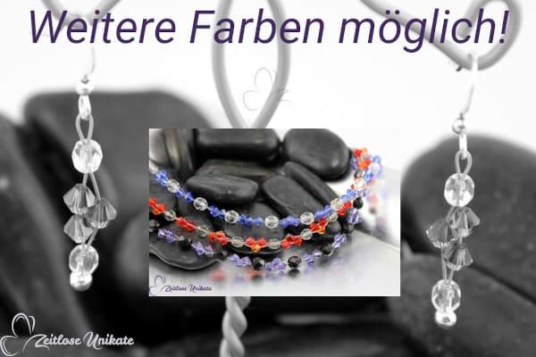 Tanzanite schwarz – Ohrringe mit tansanitfarbenen / lila Kristallen - schwarze Perlen - ZUungewohnt